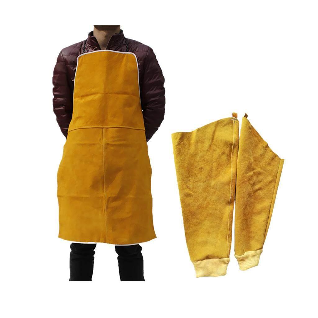 Blesiya Welder Apron Heat Insulation Cowhide Leather +1 Pair Welding Sleeves Cuffs