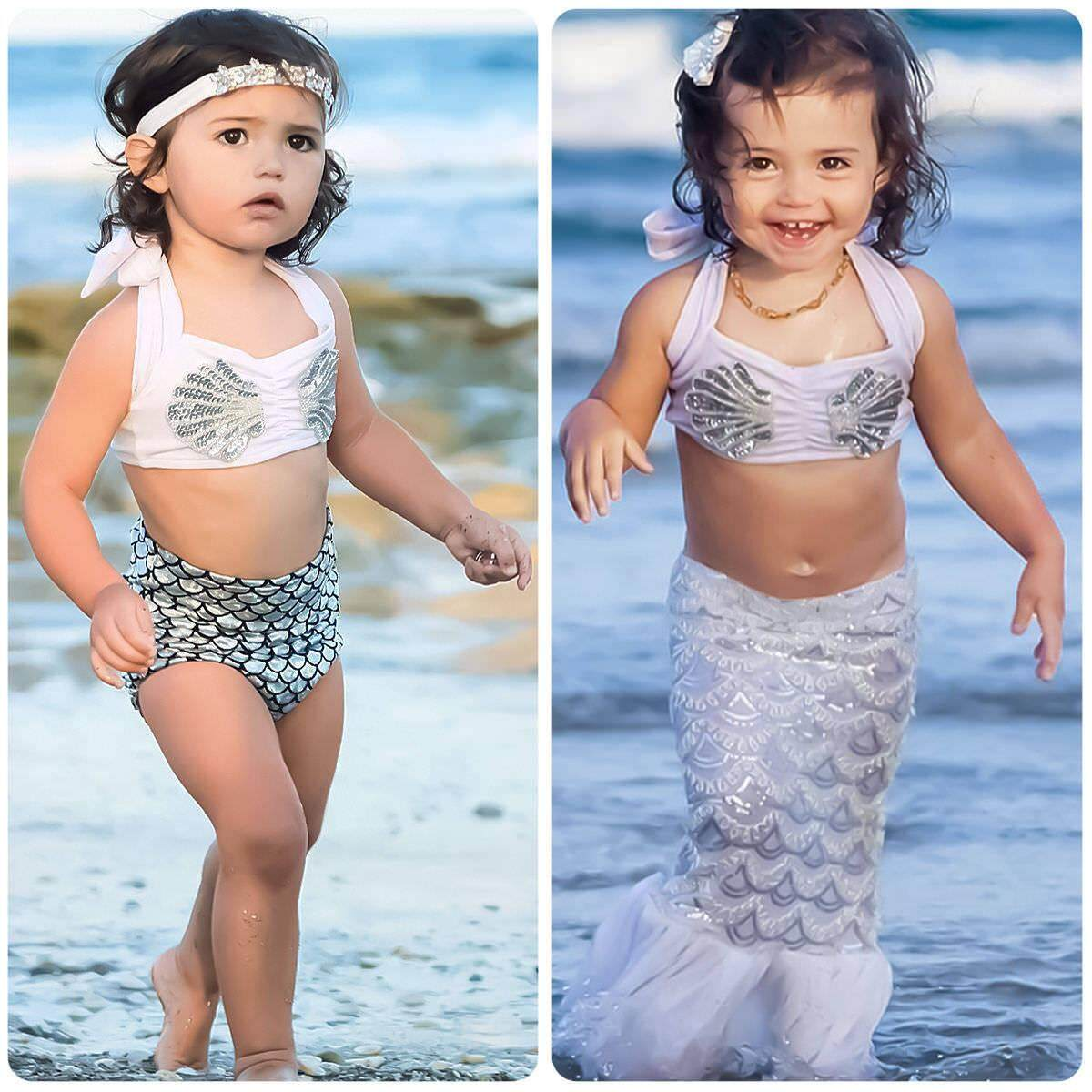 Cute Kids Baby Girl Fish Scales Mermaid Swimwear Swimsuit Bathing Suit Beachwear By Mm88 Store.