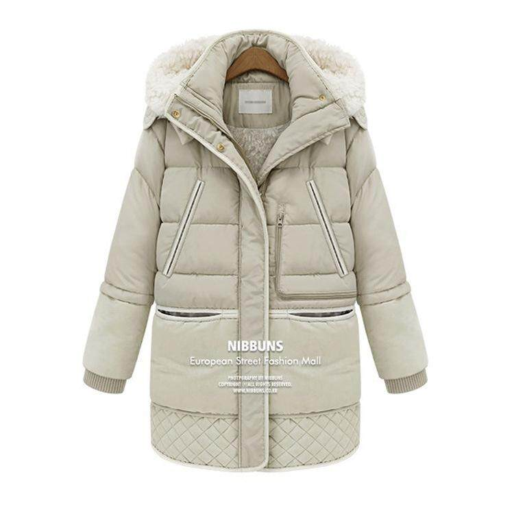 bb994c684983 winter thick down jackets white duck feather lamb wool imitation women's  down coat outerwear parkas overcoat
