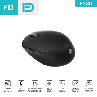 FD E580 Wireless Mouse, 2.4GHz USB, Silent Click, Adjustable DPI with Side Buttons Wonderful Hand Feeling For Computer Laptop Desktop PC Notebook thumbnail