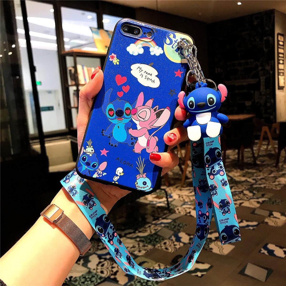 Lucu Stitch 3D Boneka Kartun Casing Braket Ponsel Untuk IPhone 6 6 S 6 Plus 6 S Plus 7 8 7 Plus X X X Max XR 11 11 Pro 11 Pro Max TPU Penutup