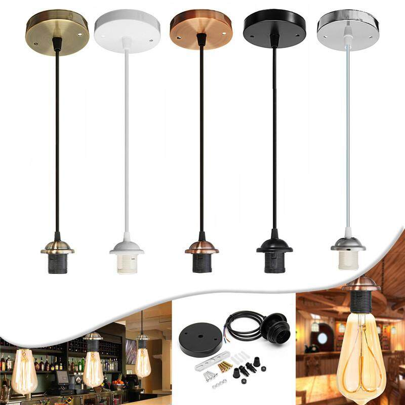【Free Shipping + Flash Deal】 E27 Ceiling Light Kit Pendant Lamp Iron PVC Fabric