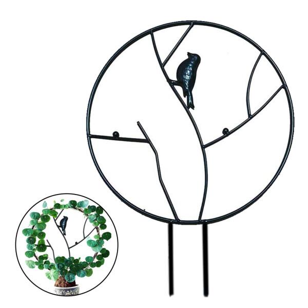 BolehDeals Small Garden Trellis for Climbing Plants, Metal Plant Support Stake Round Climbing Frame Iron Bird Potted Plant Support Flower Pot Bracket