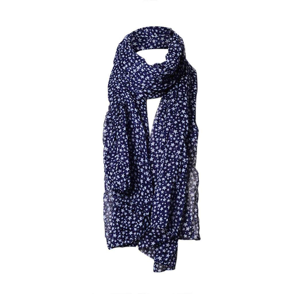 Baby_COD Ready stock Fashion Women Star Print Voile Lace Long Large Scarf Warm Wrap Shawl Soft Stole Free shipping