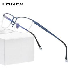 FONEX Kính Titan Cho Nam, Vuông Kính Gọng Kính Cận Thị Nửa Quang Học Mới Cho Nam Giới Tiktok Phong Cách Hàn Quốc 2020 Singapore Mang Nhãn Hiệu F85640