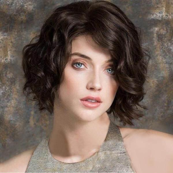 Thời Trang Tổng Hợp Tóc Ngắn Màu Nâu Xoăn Tóc Giả Tóc Tự Nhiên Tóc Giả Nữ Sợi