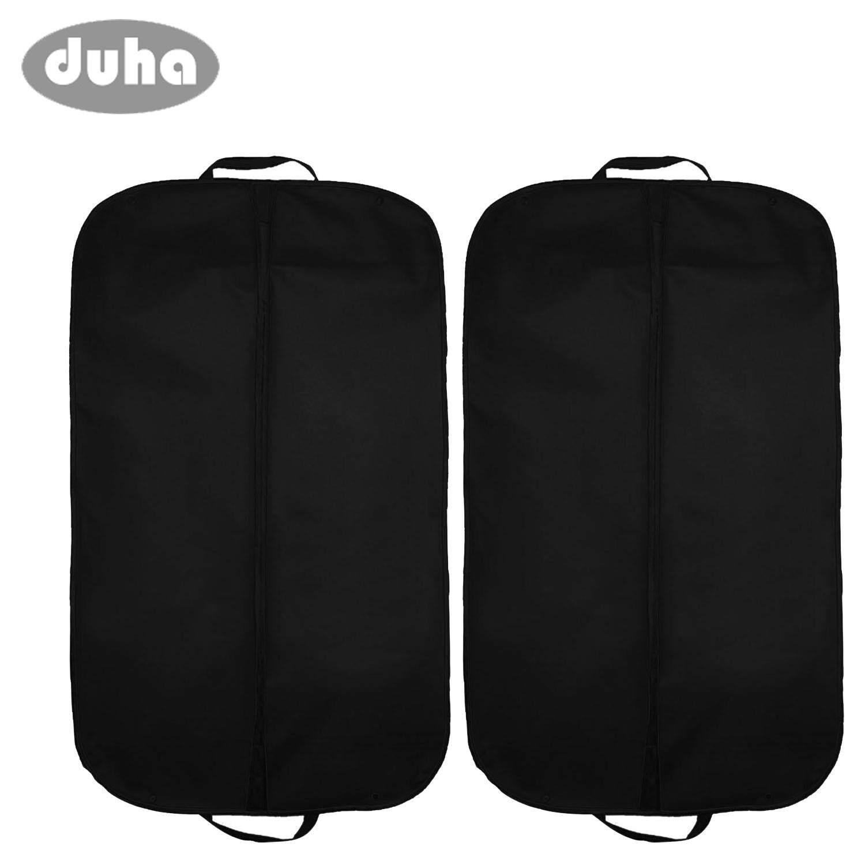 2 Pcs Foldable Nonwoven Garment Suit Dress Jacket Clothes Cover Carrier Bag With Handles Prevent Moths Dust Dirt 60 X 100cm Black By Duha.