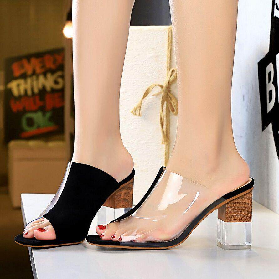 01b2524ba42b3 Fashion 3.54 inches High Heels Sandals for Women Transparent Block Heel  Mules Pumps Ladies Peep Toe