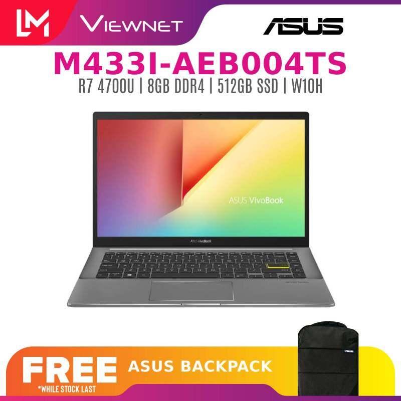 ASUS VIVOBOOK S14 M433I-AEB004TS 14 (RYZEN 7 4700U) S M533U-ABQ084TS (RYZEN 7 5700U) LAPTOP INDIE BLACK 8GB DDR4 RAM | 512GB SSD | 2 YEARS WARRANTY FREE BACKPACK Malaysia