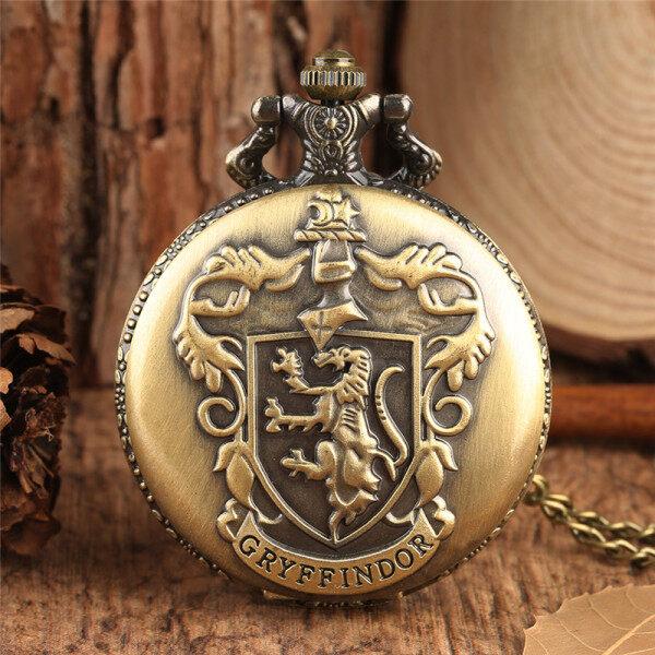 AIKEN Bronze Harry Potter Gryffindor College Logo Men Women Analog Quartz Pocket Watches with Chain Malaysia
