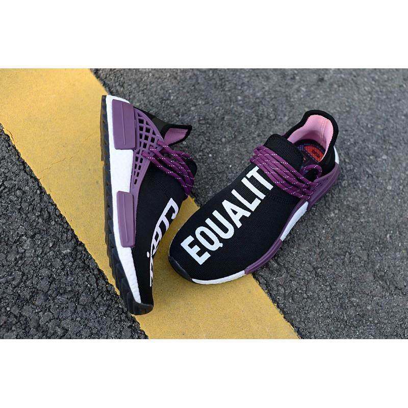 ยี่ห้อนี้ดีไหม  อุตรดิตถ์ ส่วนลด 2018 Adidas ต้นฉบับ Pharrell Williams เผ่าพันธุ์มนุษย์ NMD รองเท้าวิ่งสำหรับผู้ชายรองเท้าผ้าใบสตรีสีดำสีม่วง