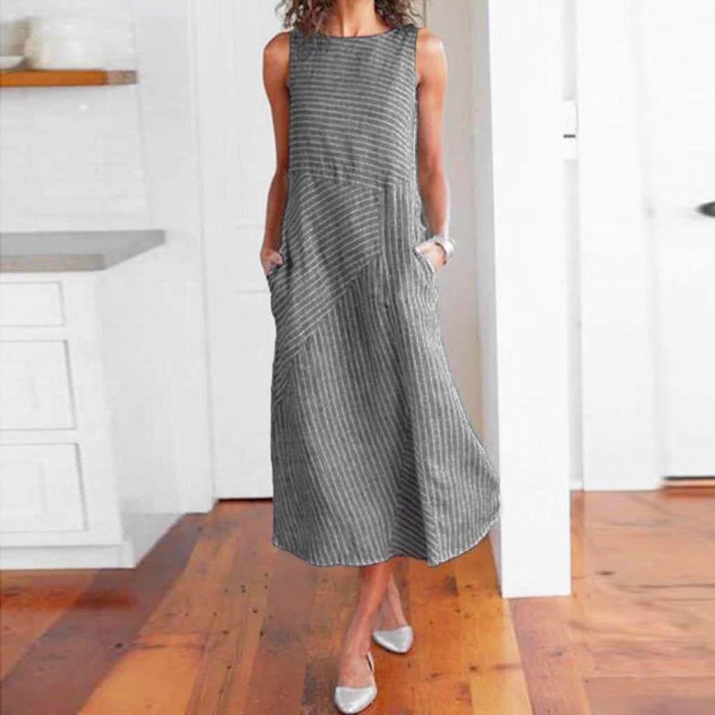02b81df66204 Tandyshop Women Casual Striped Sleeveless Dress Crew Neck Linen Pocket Long  Dress No Brand