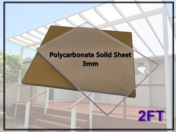 2ft x 4ft Polycarbonate Roofing Sheet / PC Sheet 3mm ± (Plain Clear/Bronze)
