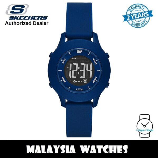 (OFFICIAL WARRANTY) Skechers SR6202 Womens Rosencrans Quartz Digital Blue Plastic Case Silicone Sports Watch (2 Years Warranty) Malaysia