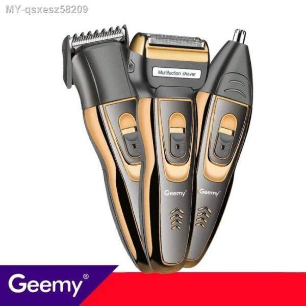 ❤️[Ready Stock] Geemy 3in1 GM-595 Professional Rechargeable Shaver - Trimmer Set(Hair Clipper-Shaver-Nose Trimmer)Mesin