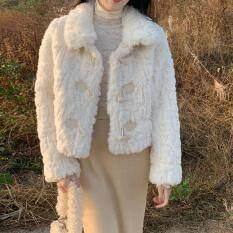 SUI242 SYT Ấm Áp Và Đáng Yêu Sừng Khóa Lông Một Áo Khoác Ngắn Phụ Nữ 2020 Mới Mùa Xuân Dày Sang Trọng Top