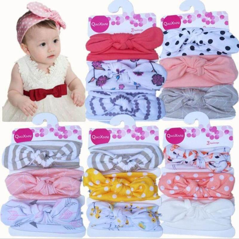 3PC 1Set Newborn Headband Elastic Flower Kids Baby Girls Hairband Bowknot Turban