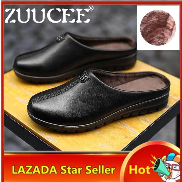ZUUCEE Women Fashion Flats Shoes Single/Plus Velvet Half-slippers Loafers Slip-Ons For Women Waterproof Non-slip Mother Shoes Casual House Shoes giá rẻ