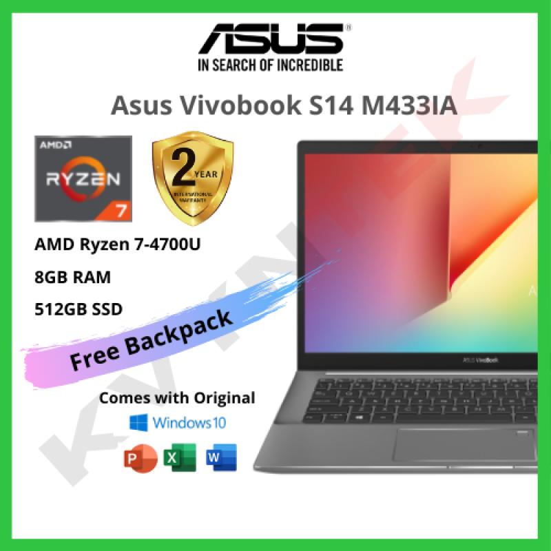 Asus VivoBook S14 M433IA Laptop ( AMD Ryzen 7, 8GB RAM, Microsoft Office, 512GB SSD, AMD Graphics, 14.0, Finger Print ) Malaysia