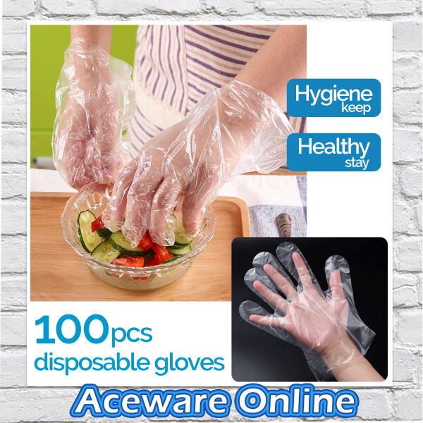 100 PCS Clear Transparent Disposable HDPE Plastic Glove One Size Fits Most Food Handling Hygiene Virus Sarung Tangan