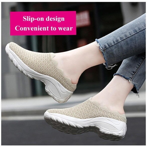Giày lưới thoáng khí cho Nữ, Giày đi hàng ngày, màu trơn, Trọng lượng nhẹ, cỡ lớn, một bước giá rẻ