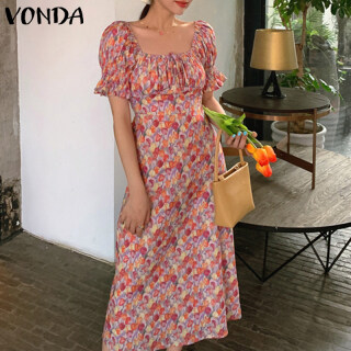 (Phong Cách Hàn Quốc) VONDA Đầm Kaftan Bohemia In Hoa Ngắn Tay Cho Nữ Đầm Midi Dự Tiệc Ngày Lễ thumbnail