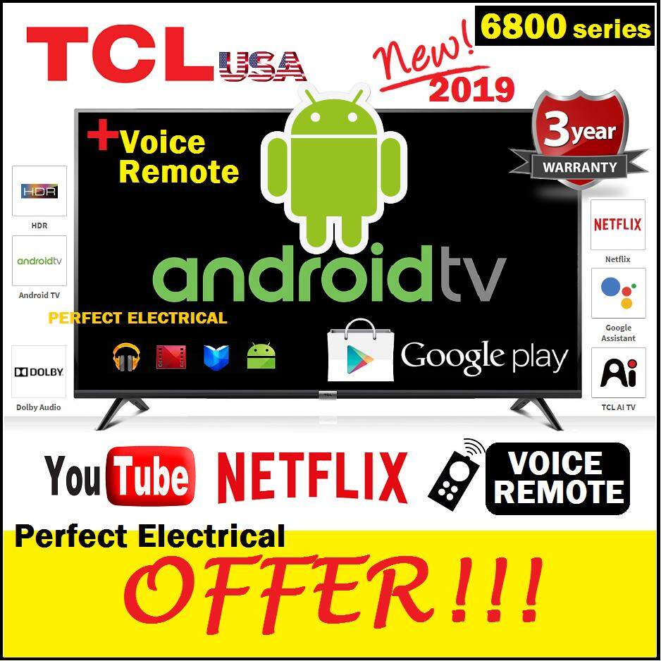 TCL 40 inch ANDROID TV SMART LED TV 40S6800 [2019 NEW Replace Old Model  40S6500] better than SHARP / SAMSUNG / SKYWORTH / DAEWOO / TOSHIBA / LG /