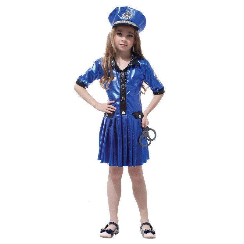 Girls Chief Playtime Cop Career Polyester Cosplay Fancy Blue Dress And Hat Halloween Costume For Children Gift Tower