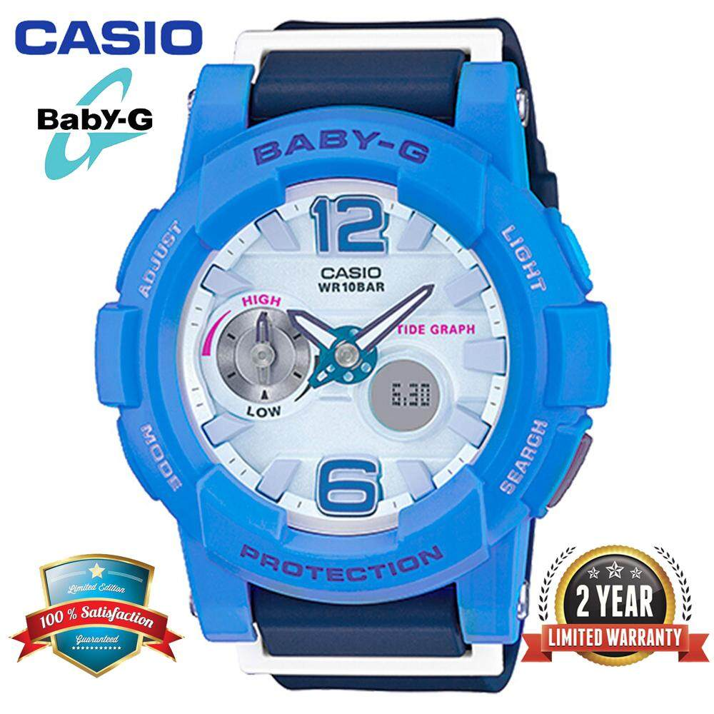 (Ready Stock)Original Casio Baby G_BGA-180-2B3PR Women Sport Watch Duo W/Time 100M Water Resistant Shockproof and Waterproof World Time LED Light Girl Wist Sports Watches with 2 Year Warranty BGA180/BGA-180 Blue Malaysia