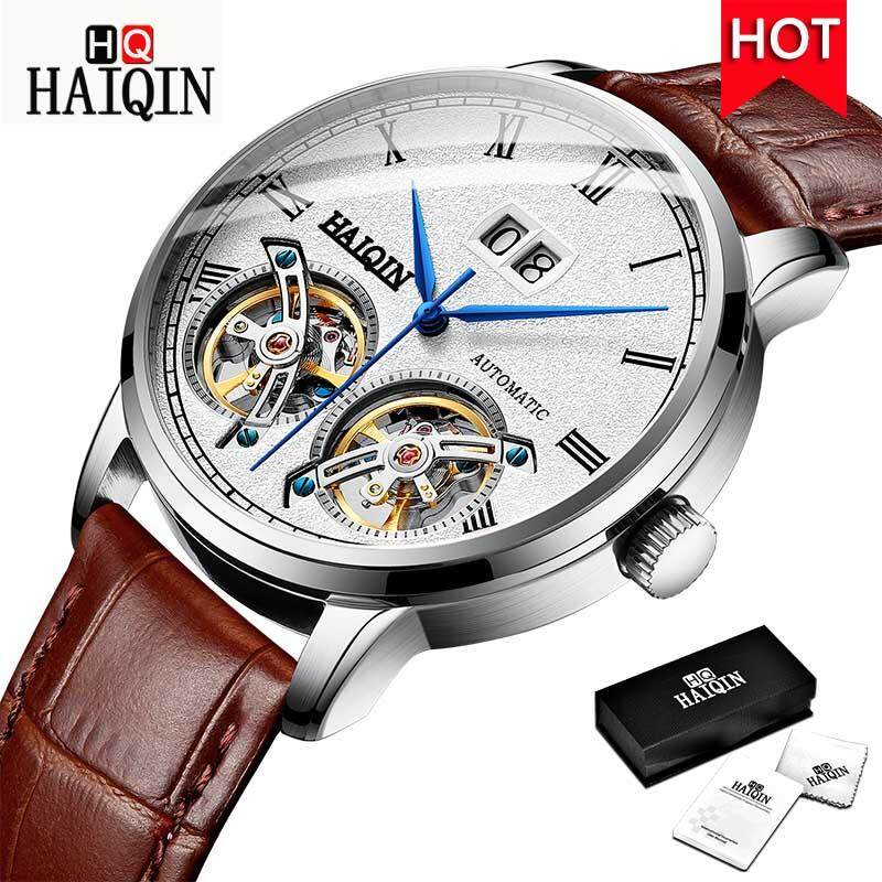 HAIQIN 2019 New Casual Mechanical Men Watch 50m Waterproof Military Watch men Tourbillon Sports Leather Male Wristwatch Malaysia