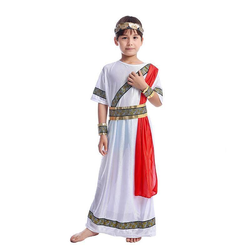 Ancient Roman Caesar Boy Toga Fancy Dress Kids Historic Book Week Halloween Costume