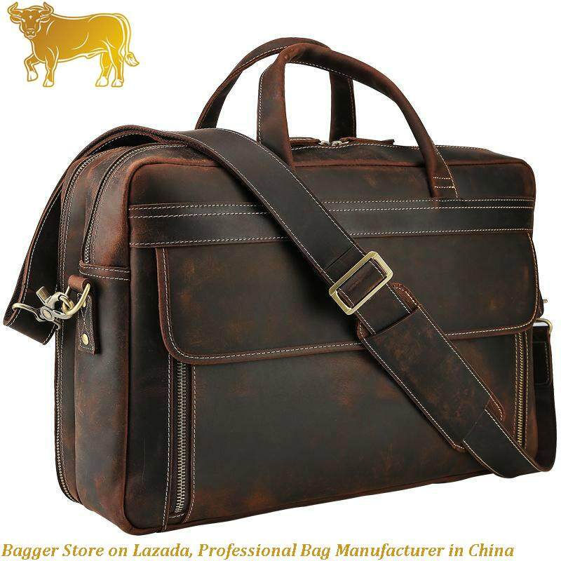 Italy 100% Genuine Cow Leather New Mens Briefcase Large Capacity 17 Inch Laptop Bags Retro Man Shoulder Bag Fashion Handbag By Bagger.