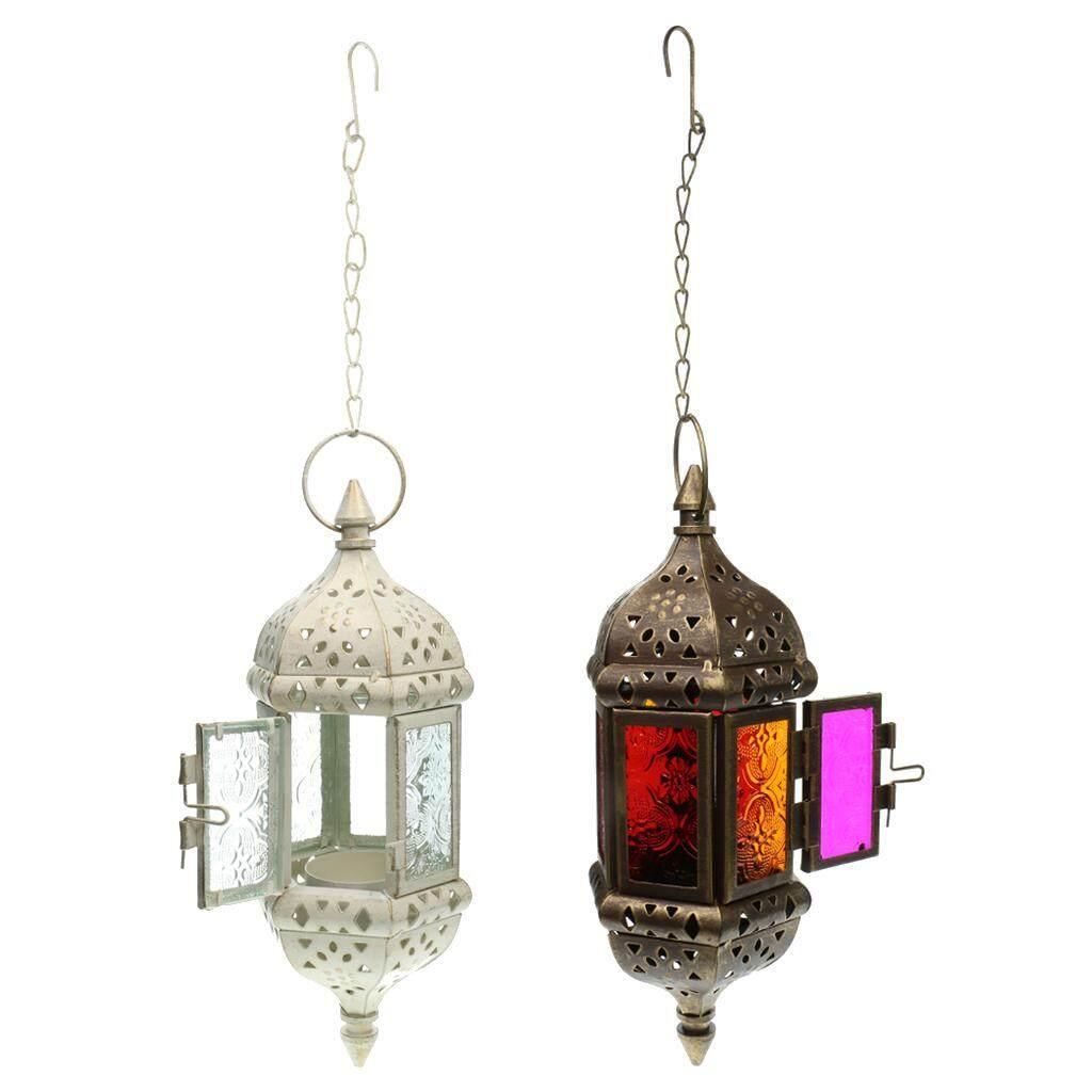 Set 2PCS Moroccan Metal Hollow Wedding Hanging Candle Holder Candle Lantern