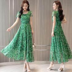 Xiziy Nữ Hoa Váy Boho Lớn Viền Tay Ngắn Chữ A Đầm Cao Cấp Phong Cách Hàn Quốc Waiste Váy