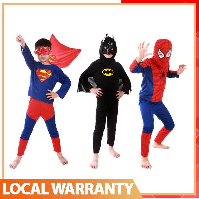 Children Cosplay Cloth Super man Bat man Spider man Clothes Set Party Costume toys for girls