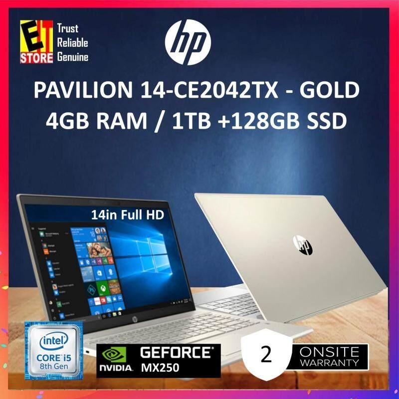 HP PAVILION 14-CE2043TX SILVER / 14-CE2042TX GOLD (I5-8265U /4GB/1TB+128GB /2GB MX250/14  FHD W10/2YRS) LAPTOP Malaysia