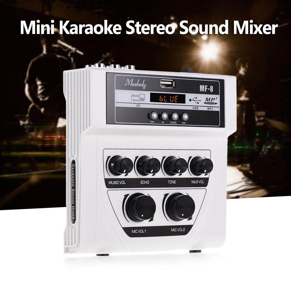 Muslady MF-8 Mini Karaoke Sound Audio Mixer Stereo Echo Mixers Dual Microphone Inputs Support BT Recording MP3 Function for TV PC Smartphone Amplifier