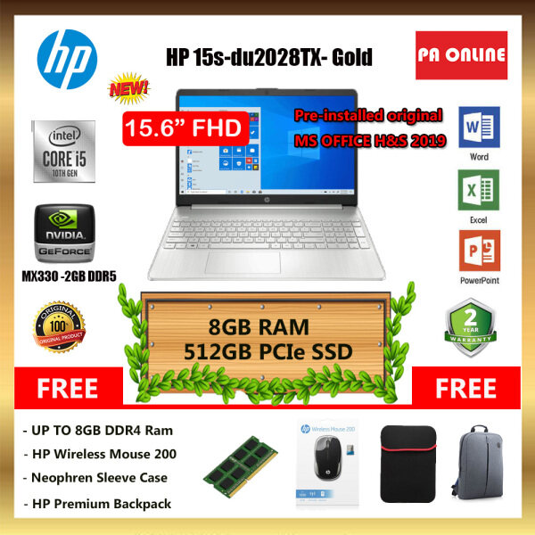 HP 15S-DU2027TX (20GB RAM)- Intel Core i5-1035G1 /8GB-20GB Ram /512GB SSD /15.6 FHD /2GB NVD MX330 /Win 10 /MS Office /2 Years Malaysia