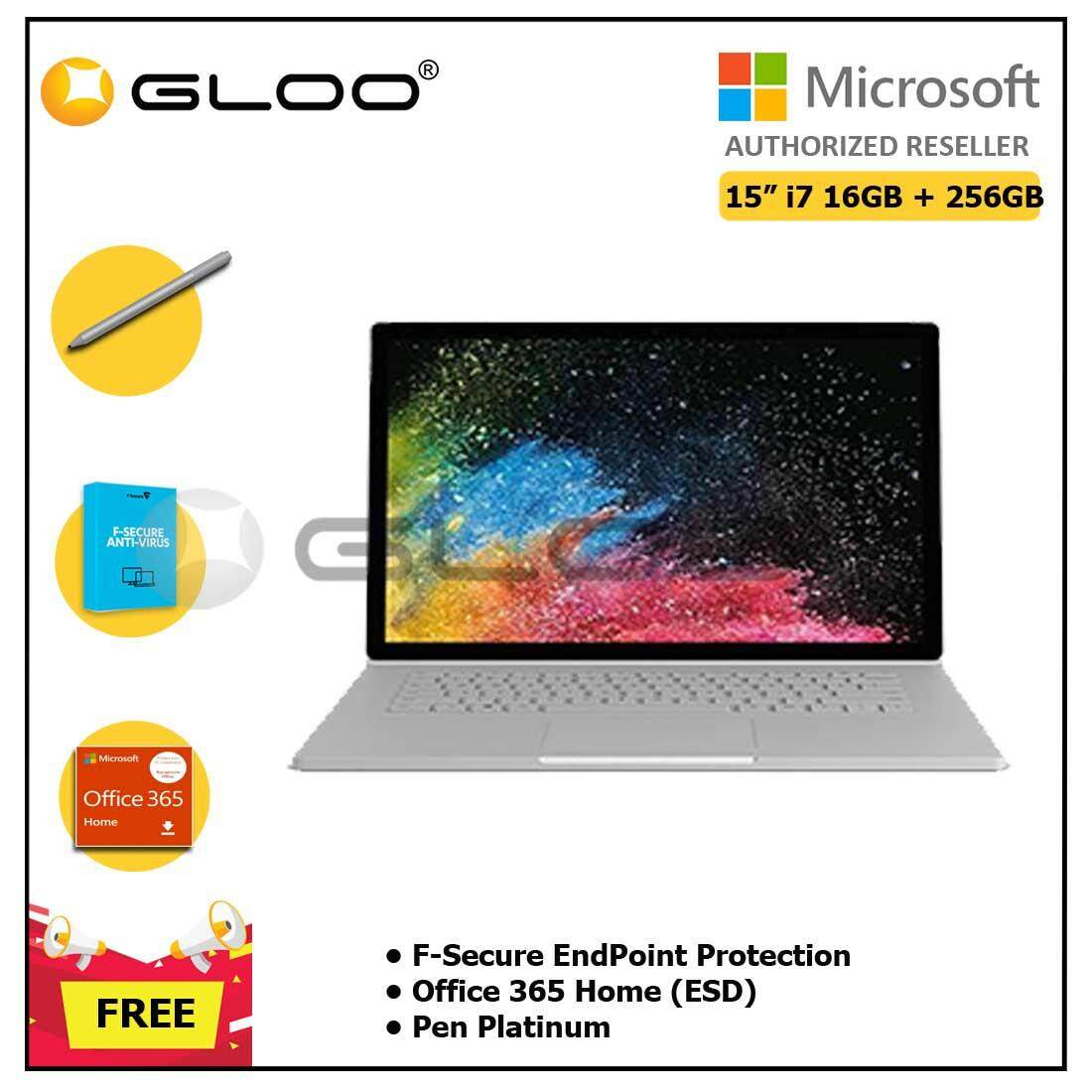 Microsoft Surface Book 2 15 i7/16GB 256GB + F-Secure EndPoint Protection + Office 365 Home ESD + Pen Platinum Malaysia