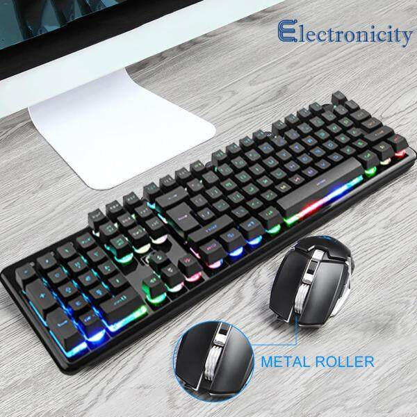 {electronicity}Durable Keyboards 2.4G Wireless Gaming LED Mechanical Feel 104 Keys Keyboard 6 Buttons Mouse Set Singapore