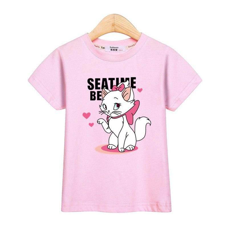 b2e3c5fd4 Gilrs tops cute Marie Cat short sleeve tees kids clothes funny kitten  little girl t-