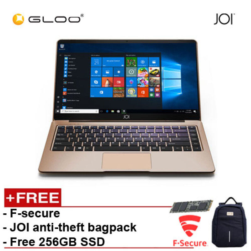 JOI Book 150 – AD-L150G Cel N4100, 4+32GB, 14  FHD, W10 Home, Gold {Free 256GB SSD + Anti-Theft Backpack - Blue + F-secure} Malaysia