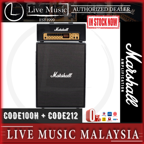 Marshall Code100H + Code212 - 100 Watt Amplifier Head with 100 Watt 2x12 Amplifier Cabinet Package (Code/100/100H/212) Malaysia