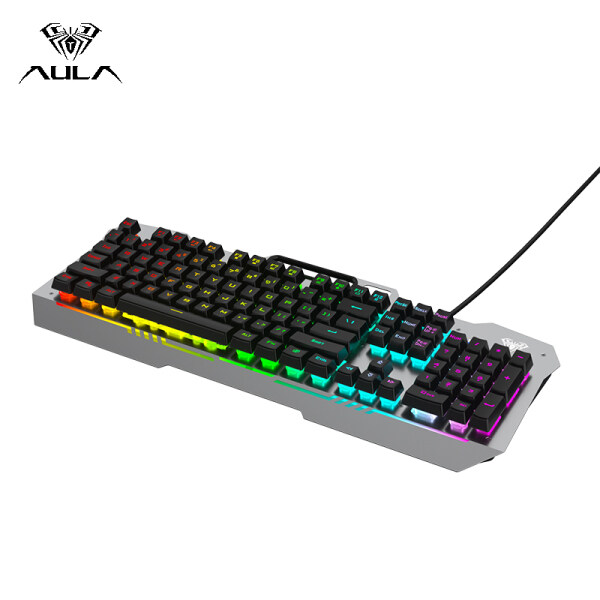 AULA F3010 Mechanical Gaming Keyboard USB Wired Color Backlight Floating Keycap Keyboard 26 keys Professional Gaming Office Keyboard Supports Win XP/Win7/Win8/Win10 Singapore