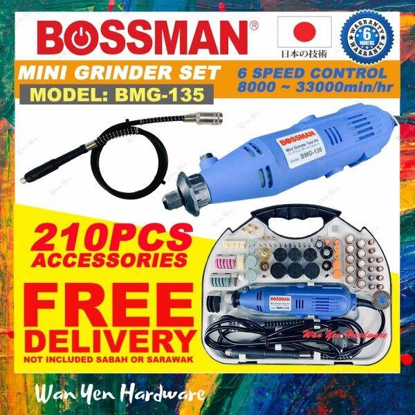 Bossman BMG135 Mini Grinder/Engraver/Dremel/Polisher Set c/w 210pcs Accessories