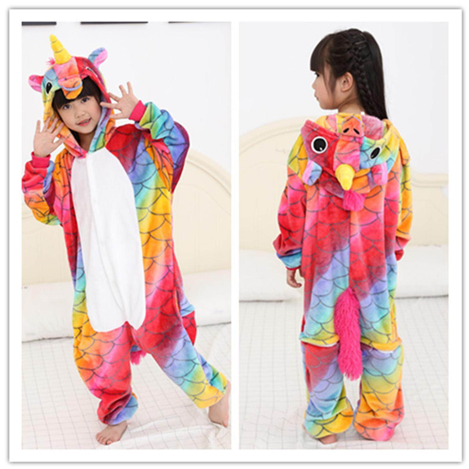 479d058e97 Colorful Unisex Kids Flannel Animal Unicorn Onesie Pajama Suit Night  Clothes Jumpsuits Cosplay Costume Size