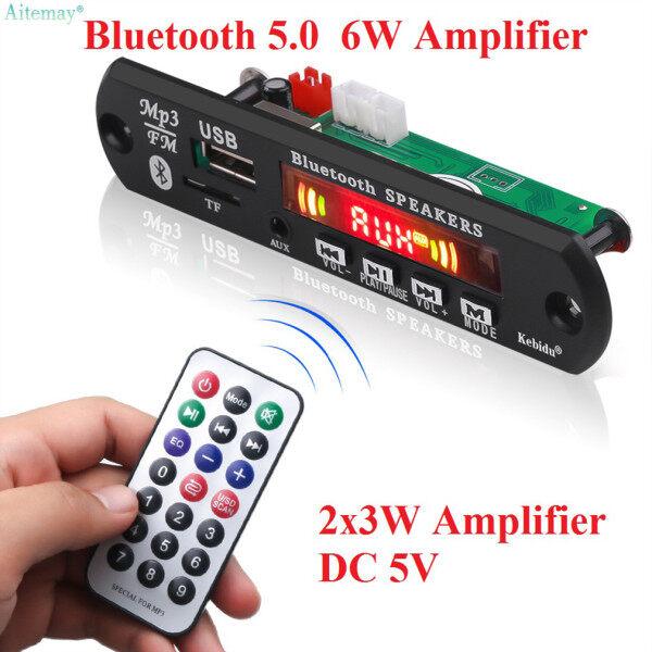 Aitemay Bluetooth Board Giải Mã 5V 6W Khuếch Đại Âm Thanh Không Dây Mô-đun Mô-đun Giải Mã Màu LCD Handsfree MIC Ghi Âm USB TF FM AUX Với Điều Khiển Từ Xa