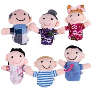 Cute 6pcs Family Finger Puppets - People Includes Mom, Dad, Grandpa, Grandma, Brother, Sister Free Cable Tie thumbnail