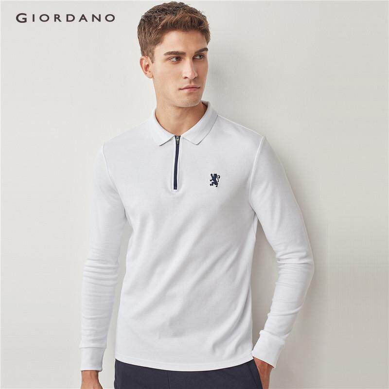 938bebbc Giordano Men Embroidery lion zip long-sleeve polo shirt [Free Shipping]  01018654