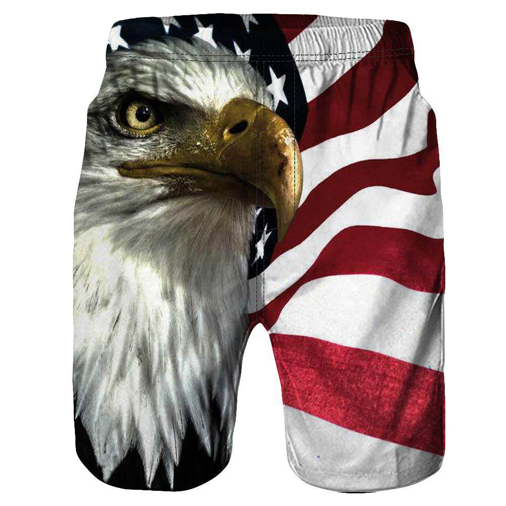 High Quality Free Shipping Men Casual 3D Eagle Printed Beach Work Casual Men Short Trouser Shorts Pants